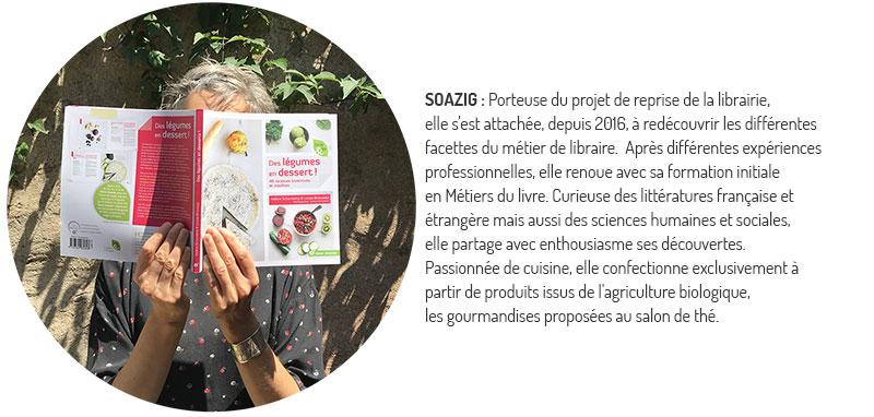 Soazig porteuse du projet de reprise de la librairie Le Bel Aujourd'hui. QUI SOMMES NOUS ?